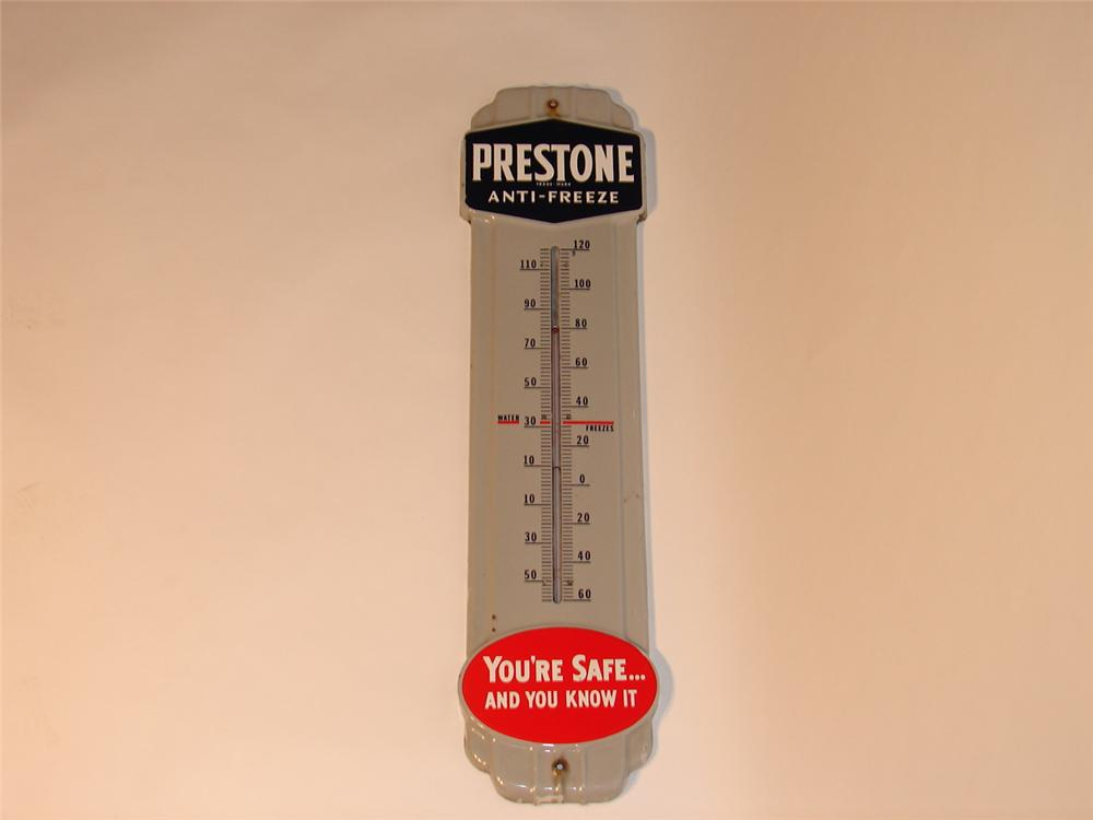 1940s-50s Prestone Anti-Freeze porcelain station thermometer. - Front 3/4 - 46728