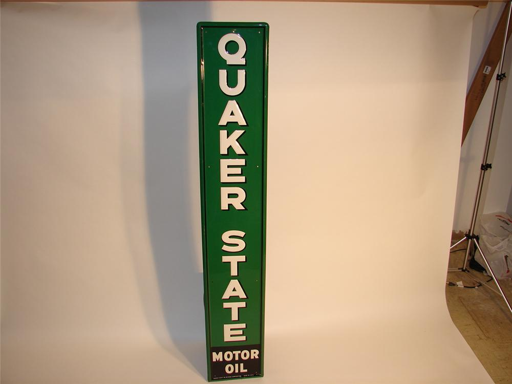 N.O.S. 1950s Quaker State motor Oil vertical tin embossed station sign. - Front 3/4 - 46729