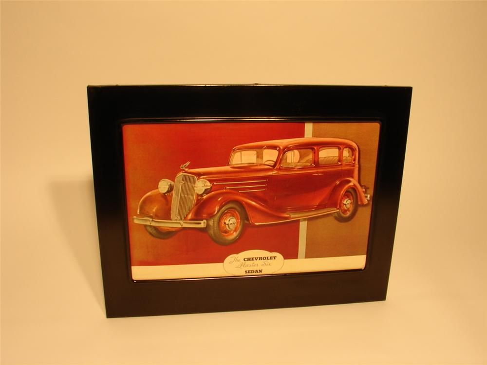 Gorgeous 1936 Chevrolet Master-Six Sedan showroom poster still in the original metal frame. - Front 3/4 - 46739
