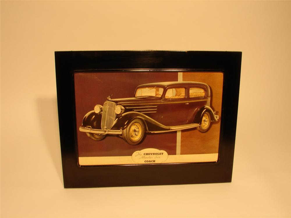 Sharp 1936 Chevrolet Master Six Coach showroom poster still in the original metal frame. - Front 3/4 - 46740