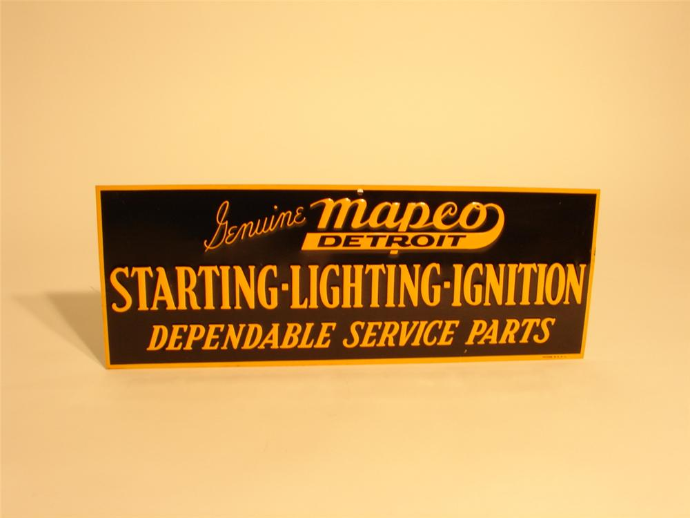 "N.O.S. 1930s Genuine Mapco ""Starting-Lighting-Ignition"" parts single-sided tin sign. - Front 3/4 - 46742"