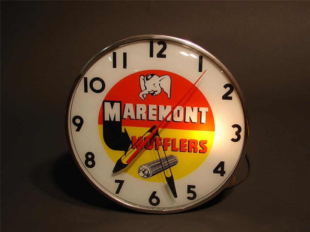 Choice 1950s Maremont Mufflers light-up station clock by Telechron. - Front 3/4 - 46747