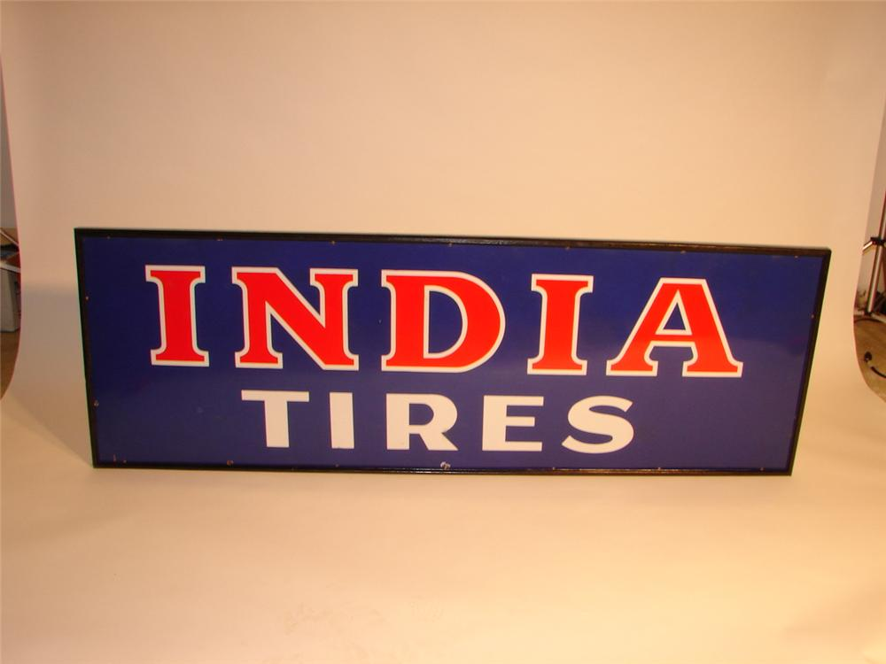 N.O.S. 1930s India Tires wood framed single-sided porcelain garage sign. - Front 3/4 - 46750