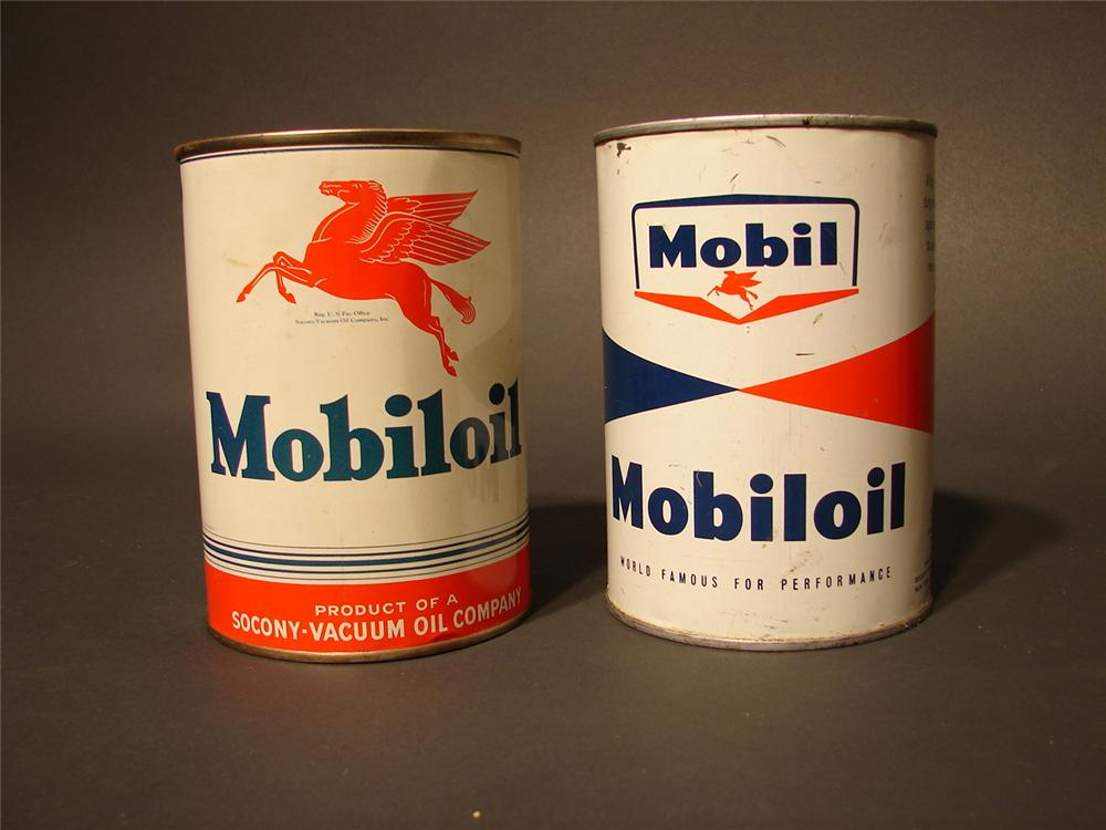 Lot of two Mobil Oil metal quart cans; 1940s Mobil Oil SAE 40 and a Late 50s Mobil Oil Outboard tin. - Front 3/4 - 46759
