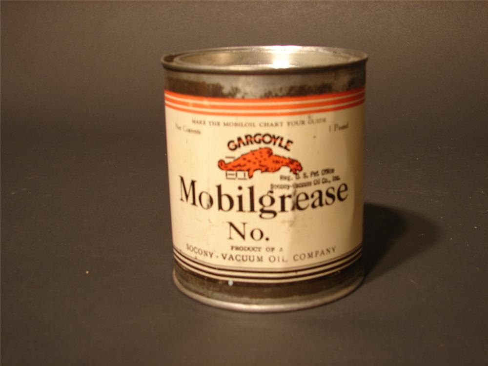 1930s Gargoyle Mobilgrease one-pound grease tin. - Front 3/4 - 46762