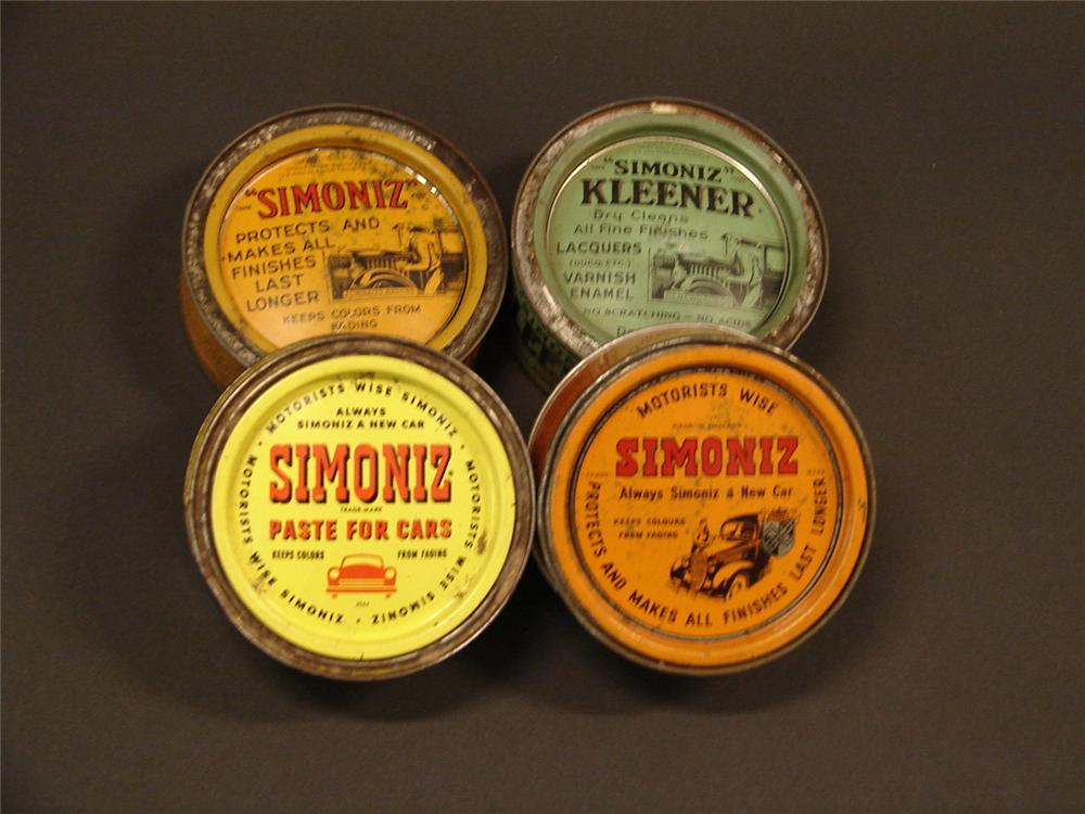Lot of four Simoniz Automobile polish tins 1930s-50s. - Front 3/4 - 46764