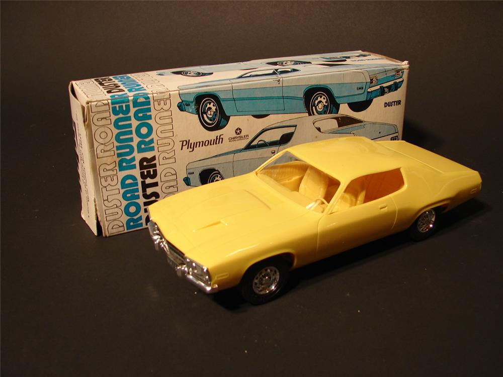 Menacing N.O.S. 1974 Plymouth Road Runner muscle car dealer promotional in Yellow. - Front 3/4 - 46769