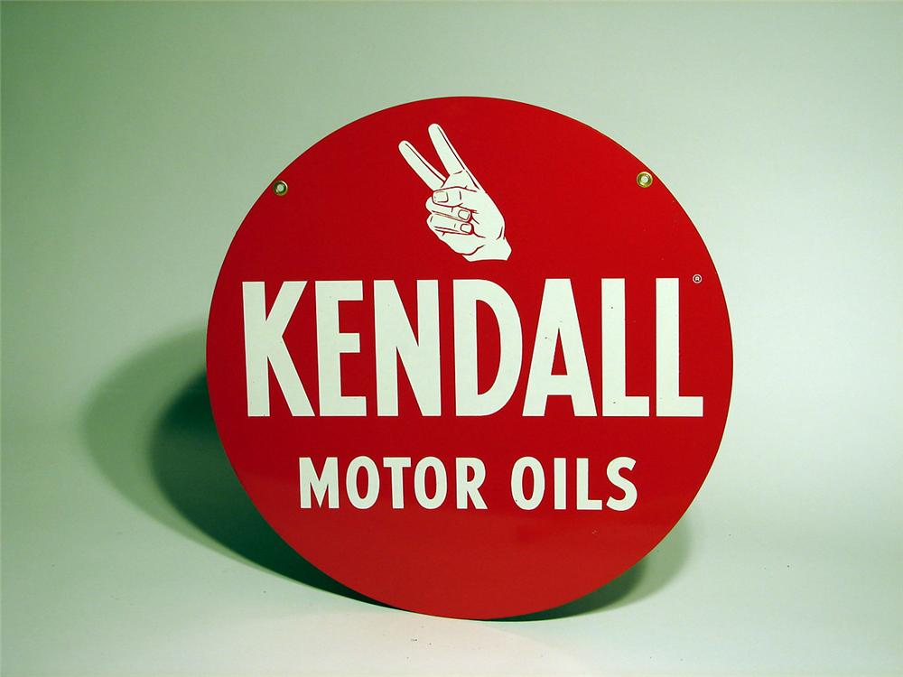 N.O.S. Kendall Motor Oil double-sided die-cut tin garage sign. - Front 3/4 - 46773