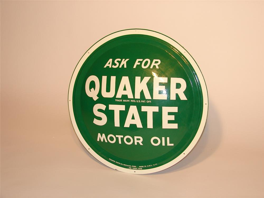 N.O.S. Quaker State Motor Oil convex tin (bulls-eye) tin garage sign. - Front 3/4 - 46774