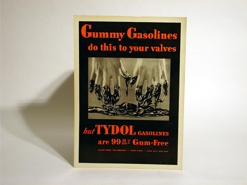 "N.O.S. 1930s Tydol ""Gummy Gasolines do this to your valves"" station poster. - Front 3/4 - 46778"