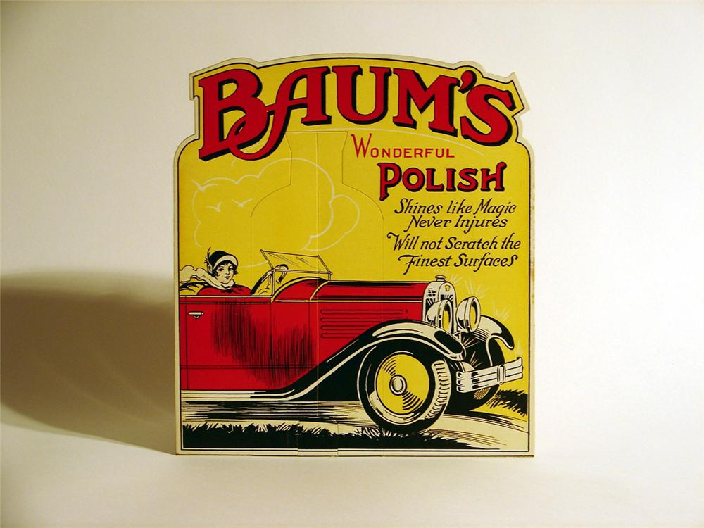 Museum quality late 20s N.O.S. Baums Auto Polish counter-top display cardboard. - Front 3/4 - 46781
