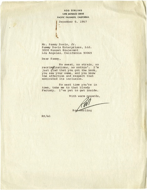 Rod Serling and Anthony Newley signed letters to Sammy Davis Jr. , 1967. - Front 3/4 - 46782