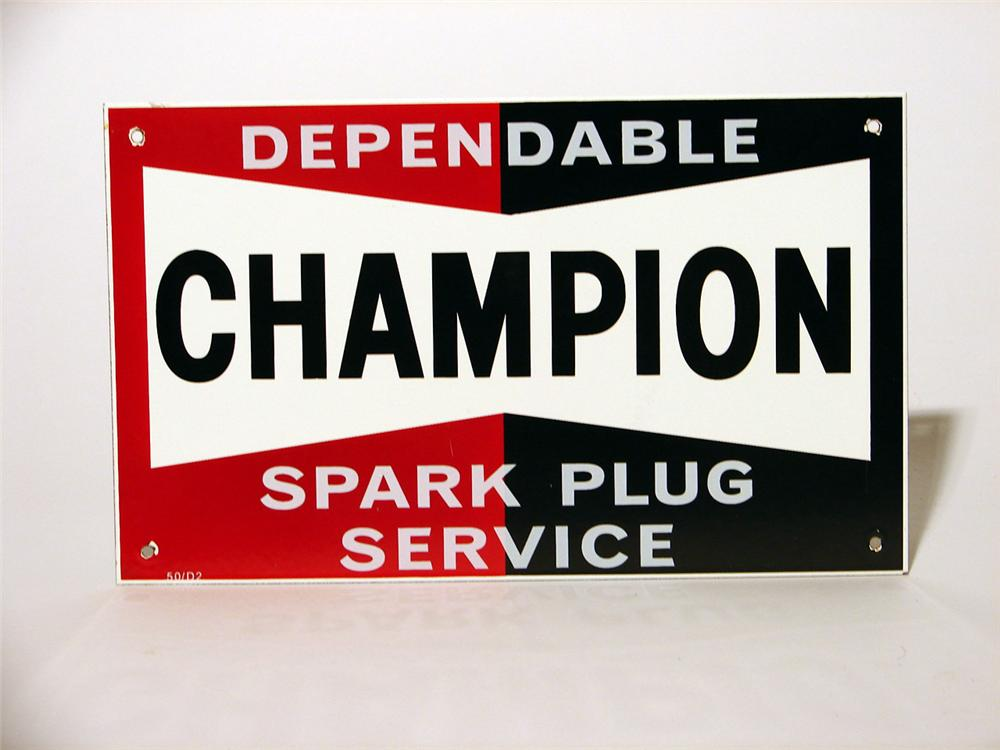 Killer N.O.S. 1950s Champion Spark Plugs porcelain garage sign. - Front 3/4 - 46849