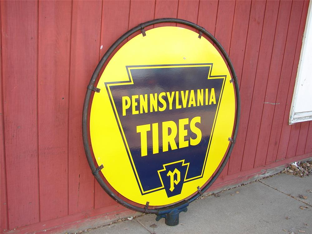 Large 1940s Pennsylvania Tires double-sided porcelain station sign still in the original hanging bracket. - Front 3/4 - 46851