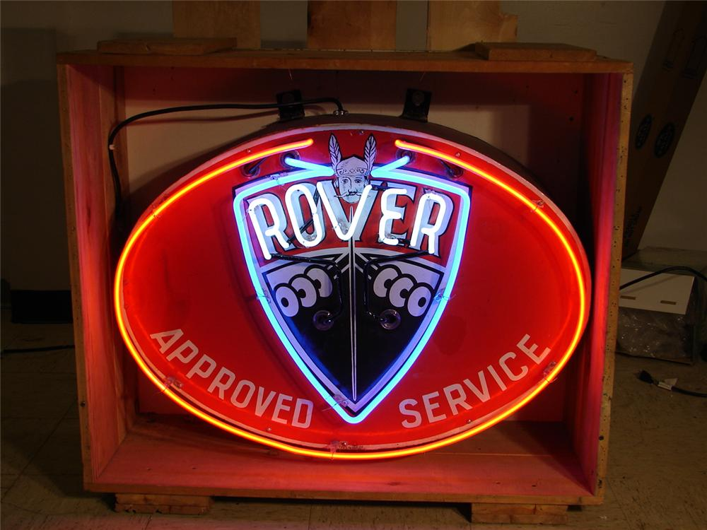 Hard to find 1950s Rover (forerunner to Land Rover) single-sided porcelin with neon dealership sign. - Front 3/4 - 46852