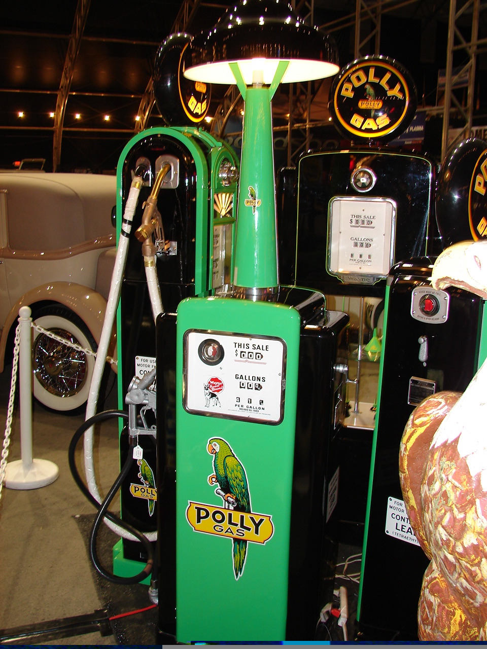 Stunning 1948 Wayne model #100 restored Polly Gasoline station pump with island lighting unit. - Front 3/4 - 46853