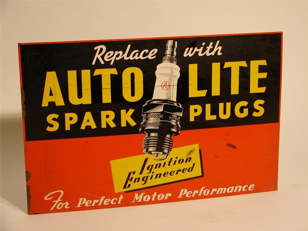 N.O.S. 1930s-40s Auto Lite Ignition Engineered Spark Plugs tin garage sign. - Front 3/4 - 46856