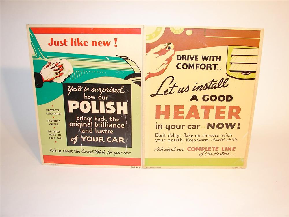 Pair of 1930s automotive care dealer cardboard posters with graphics. - Front 3/4 - 46857