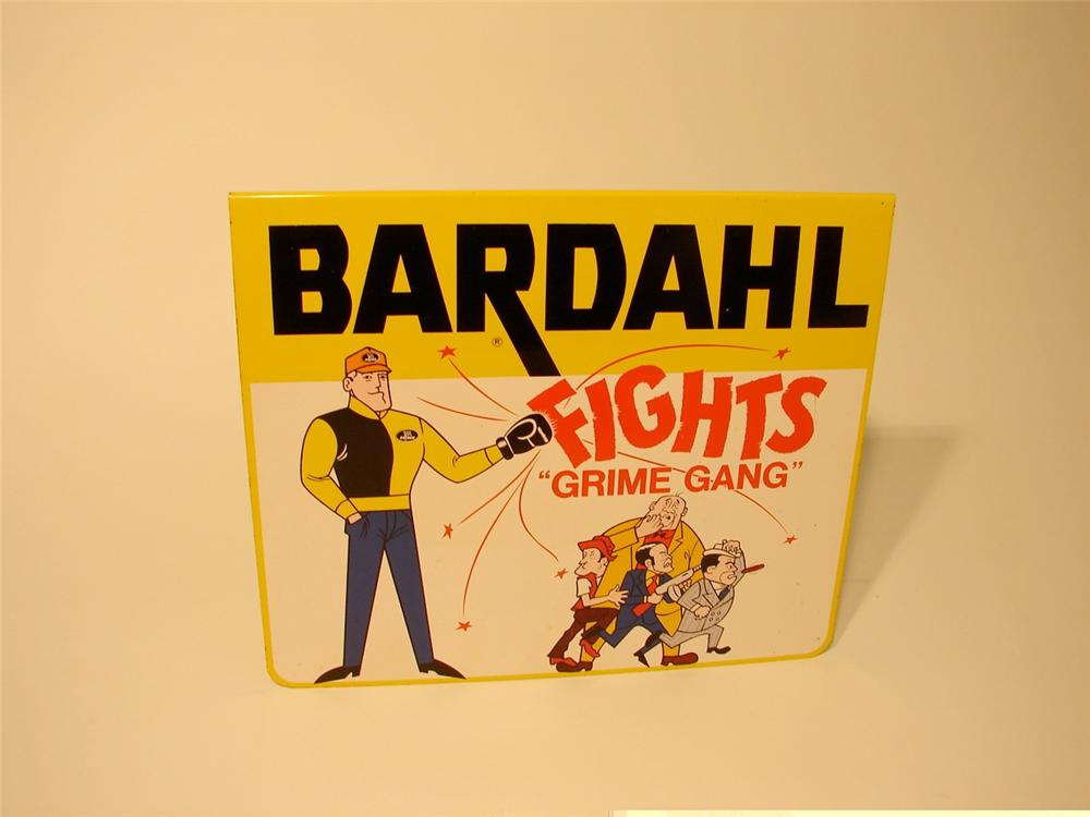 "N.O.S. 1960s Bardahl Fights ""Grime"" tin painted garage sign. - Front 3/4 - 46872"