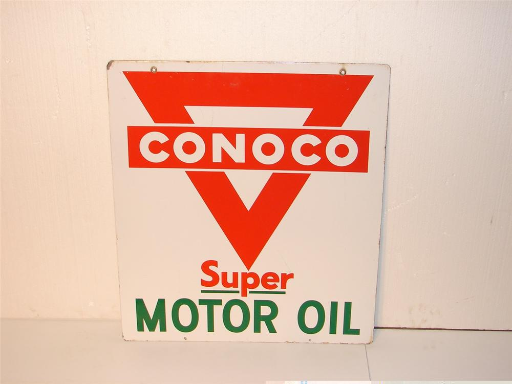 1950s Conoco double-sided porcelain station driveway sign. - Front 3/4 - 46878