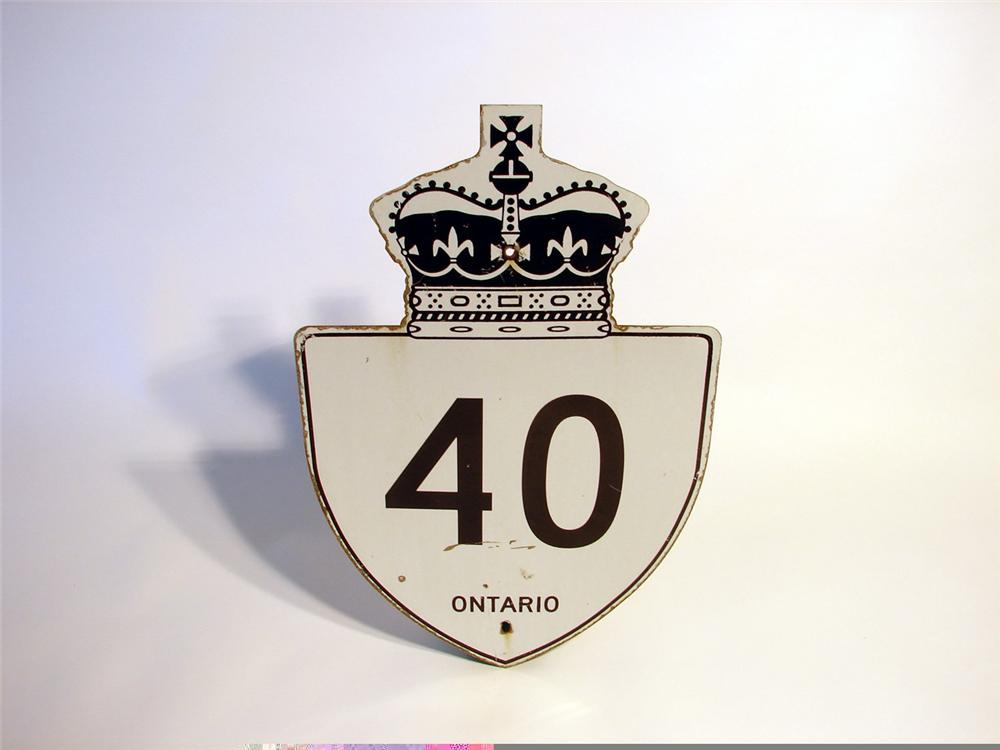 "Early Ontario ""Kings Highway #40"" metal road sign. - Front 3/4 - 46879"