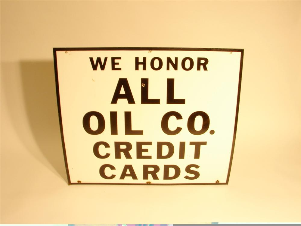 "Large 1960s We Honor All Cards single-sided porcelain gas station sign.  Size 42""x36"" - Front 3/4 - 46881"
