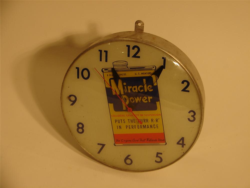 Late 50s-early 60s Miracle Power fuel additive station clock. - Front 3/4 - 46900