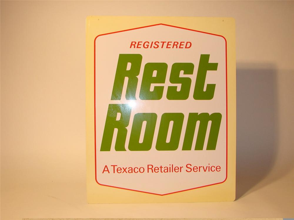 N.O.S. late 60s Texaco Rest Rooms double-sided tin station sign. - Front 3/4 - 46901