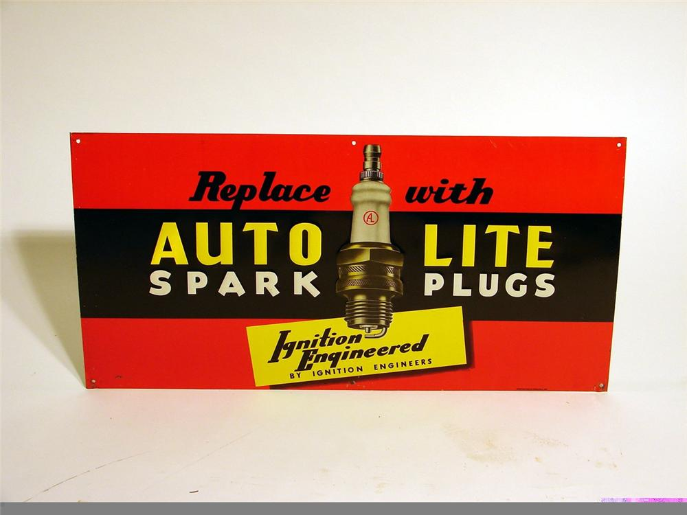 Impressive N.O.S. 1930s Auto-Lite Spark Plugs tin painted station sign. - Front 3/4 - 46902