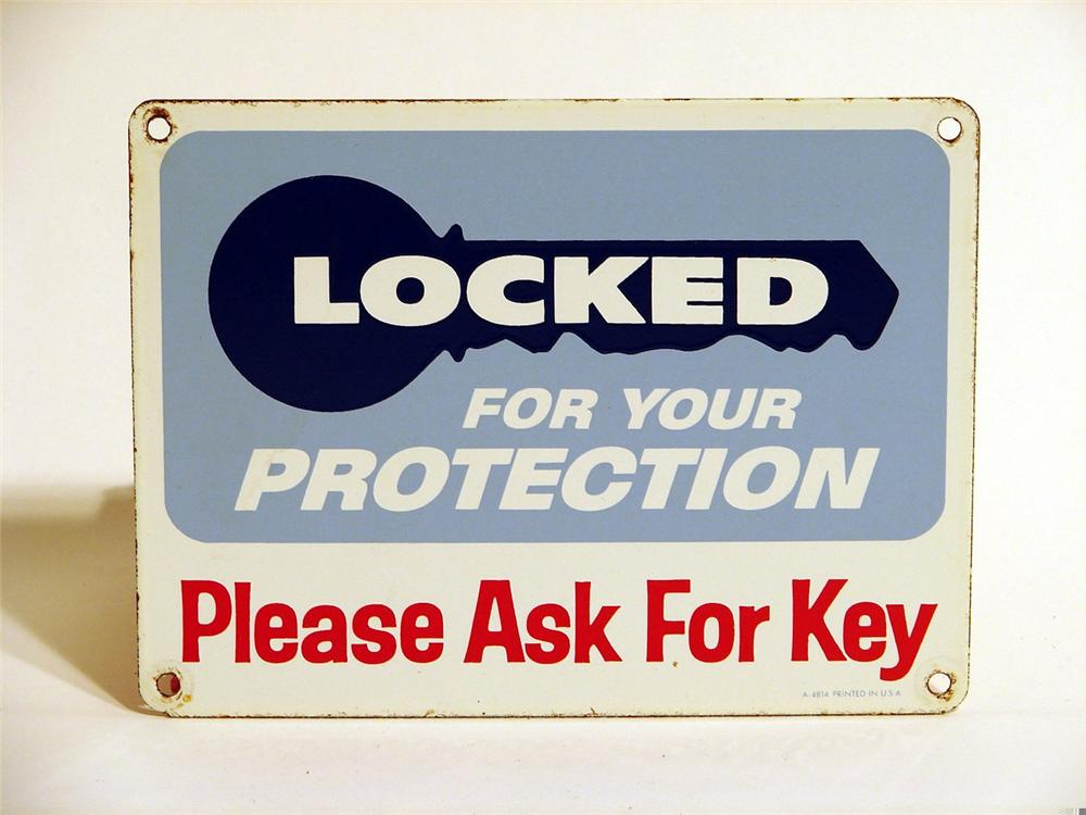 """1950s """"Locked for your Protection"""" station rest room porcelain sign. - Front 3/4 - 46903"""