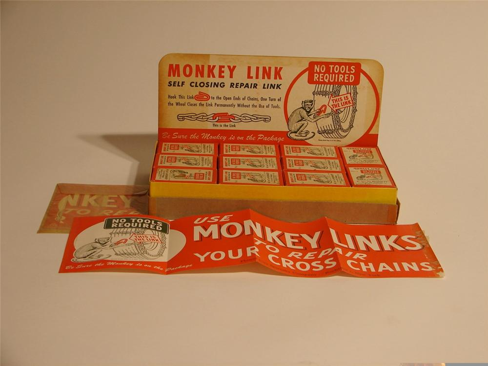 1930s N.O.S. Monkey Links counter-top station display including 22 boxed sets and a poster. - Front 3/4 - 46906