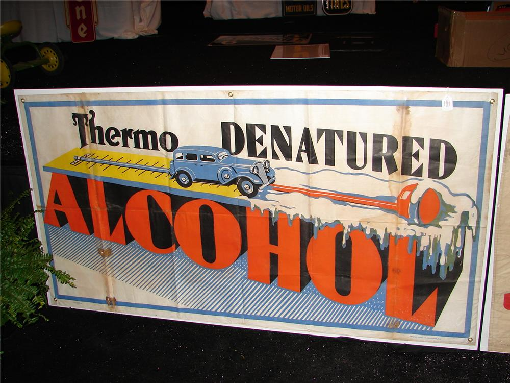 "Remarkable late 20s-early 30s station banner promoting Thermo Denatured Alcohol ""Anti-Freeze"". - Front 3/4 - 46920"