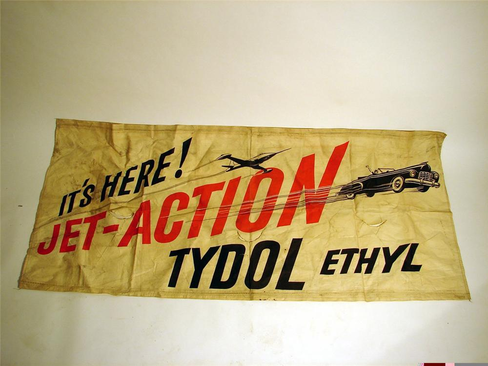 Late 40s-early 50s Tydol Jet Action station banner with period Jet and convertible illustrated. - Front 3/4 - 46922