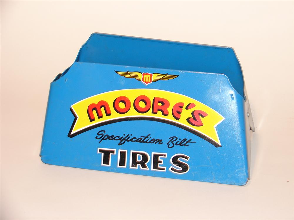 "N.O.S. 1940s Moores ""Specification Bilt"" Tires tin display sign. - Front 3/4 - 46923"