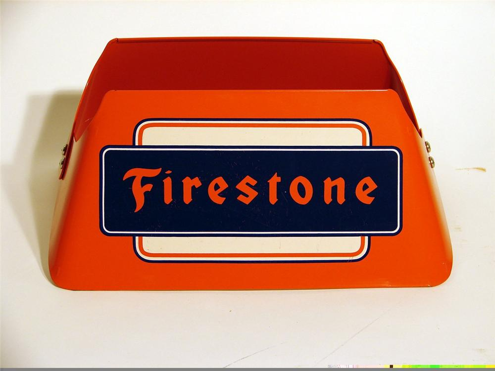 N.O.S. 1940s-50s Firestone Tire metal display stand. - Front 3/4 - 46924
