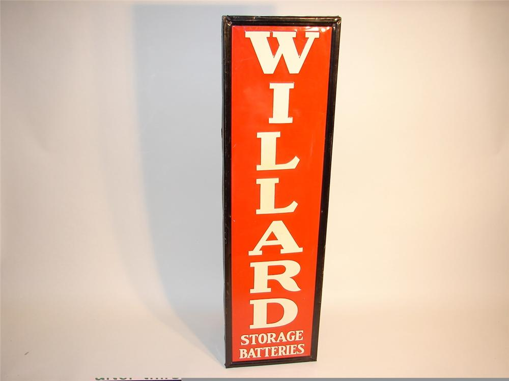 Gorgeous N.O.S. Willard Storage Batteries self-framed tin vertical garage sign. - Front 3/4 - 46930