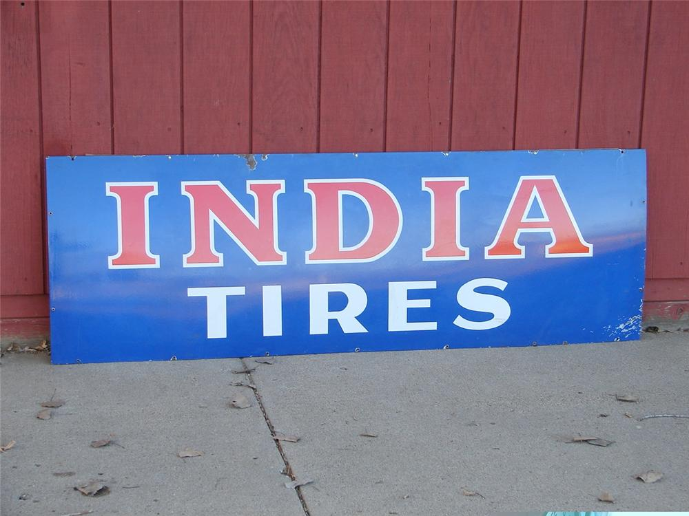 1930s India Tires Of Ohio Porcelain Garage Sign 46942