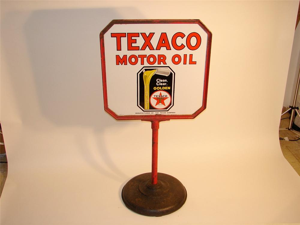 Neat 1930s Texaco Motor Oil double-sided porcelain curb sign on stand. - Front 3/4 - 46943