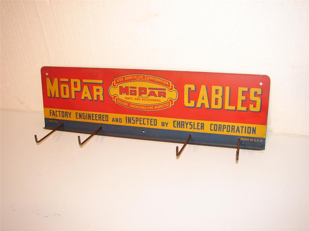 1950s Mopar Cables single-sided tin garage rack. - Front 3/4 - 46944