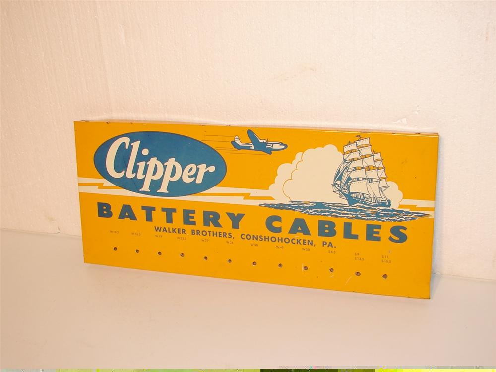 Early 1950s Clipper Battery Cables station rack sign. - Front 3/4 - 46945