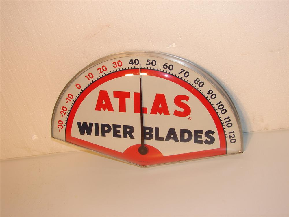 1950s Atlas Wiper Blade glass faced station thermometer. - Front 3/4 - 46946