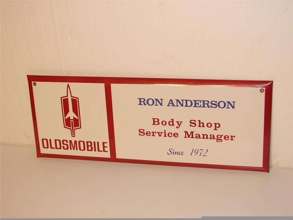 "Early 70s Oldsmobile Service Department ""Body Shop Manager"" celluloid sign. - Front 3/4 - 46948"