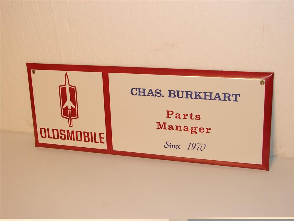 "Early 70s Oldsmobile Service Department ""Parts Manager"" celluloid sign. - Front 3/4 - 46949"