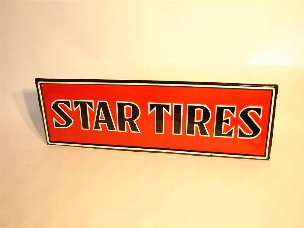 Very nice N.O.S. Star Tires embossed tin garage sign. - Front 3/4 - 46954