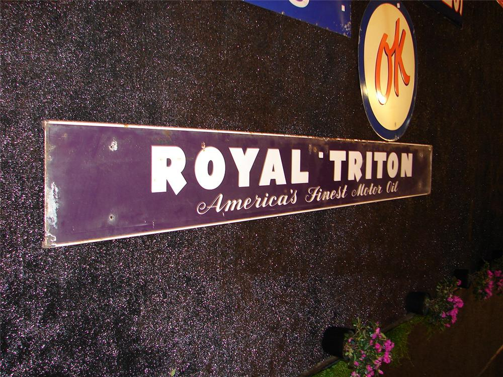 Large late 50s-early 60s Union 76 Royal Triton Motor Oil porcelain station sign. - Front 3/4 - 46955