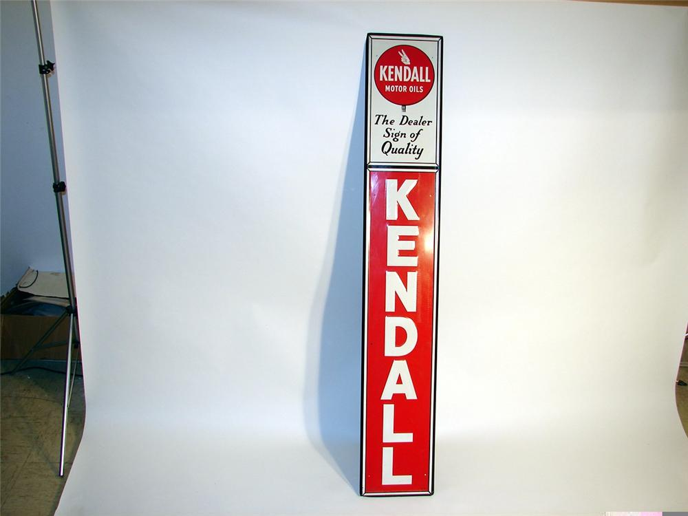 N.O.S. 1950s Kendall Motor Oil embossed tin vertical station sign. - Front 3/4 - 46960