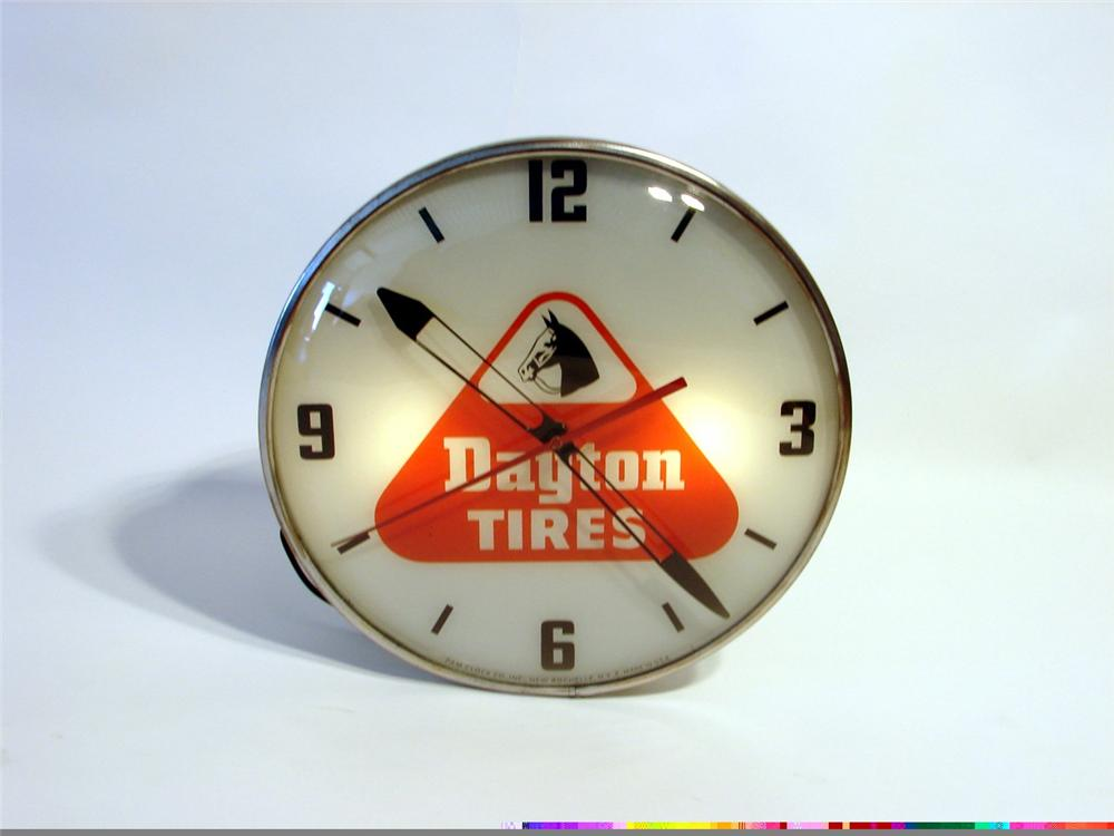 Late 50s Dayton Tires light-up dealership clock by Pam Clock Company. - Front 3/4 - 46966