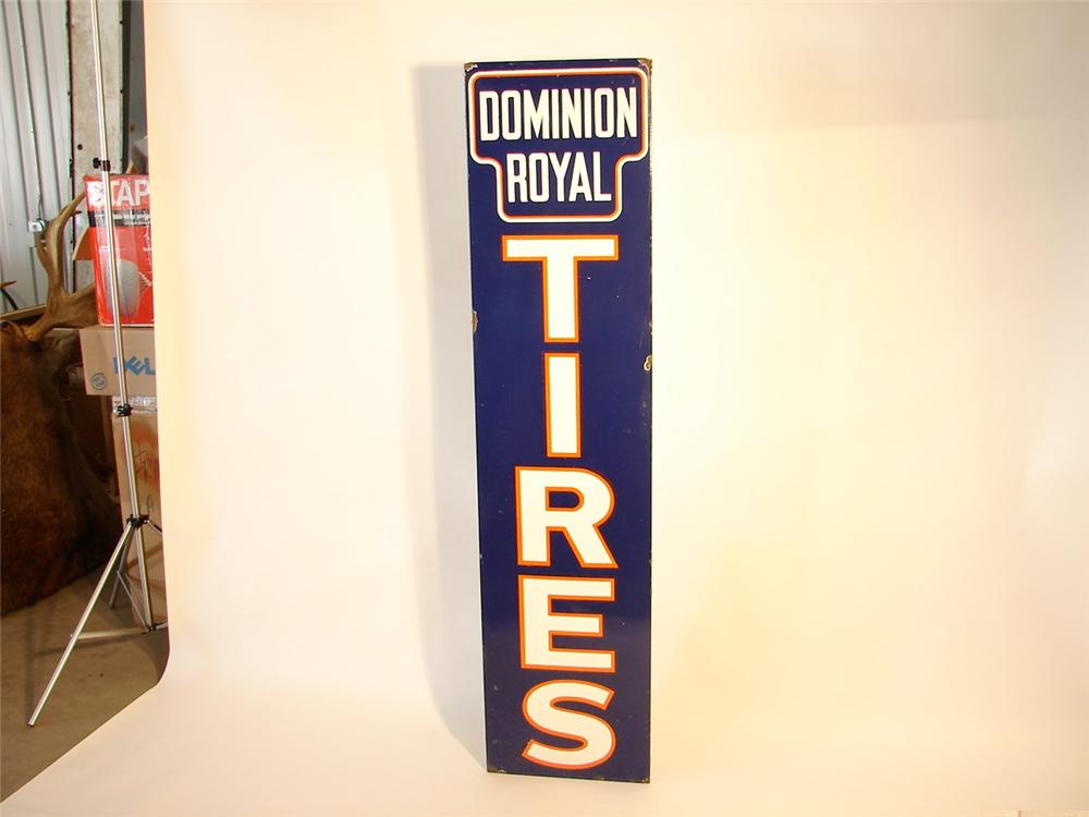 1940s Dominion Royal Tires vertical porcelain garage sign. - Front 3/4 - 46968