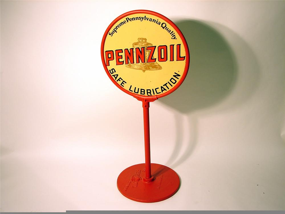 Killer 1930s Pennzoil double-sided porcelain curb sign with original base. - Front 3/4 - 46969