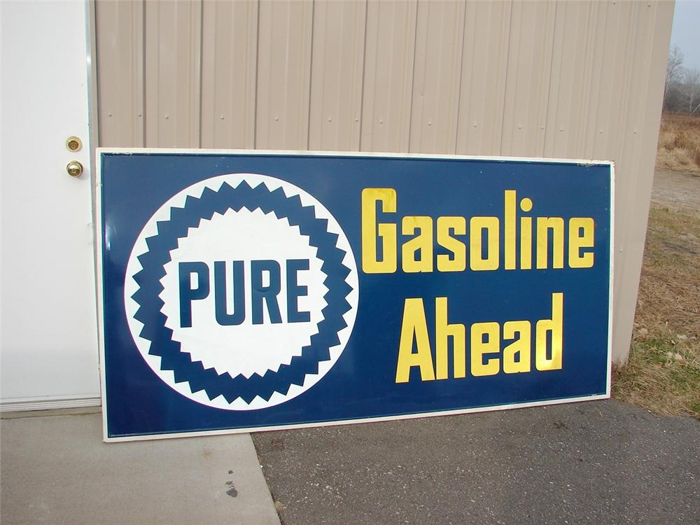 Large late 50s-early 60s Pure Gasoline Ahead wood framed tin station sign. - Front 3/4 - 46971